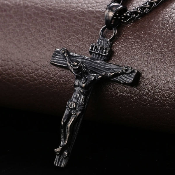 Classy Men Black Jesus INRI Cross Crucifix Pendant Necklace