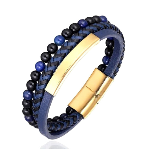 Classy Men Blue 3-Layer Beaded Leather Bracelet | 3 Styles - Classy Men Collection
