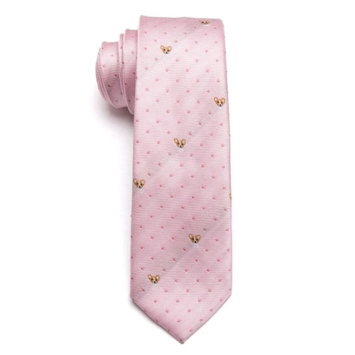 Classy Men Pink Chihuahua Skinny Tie
