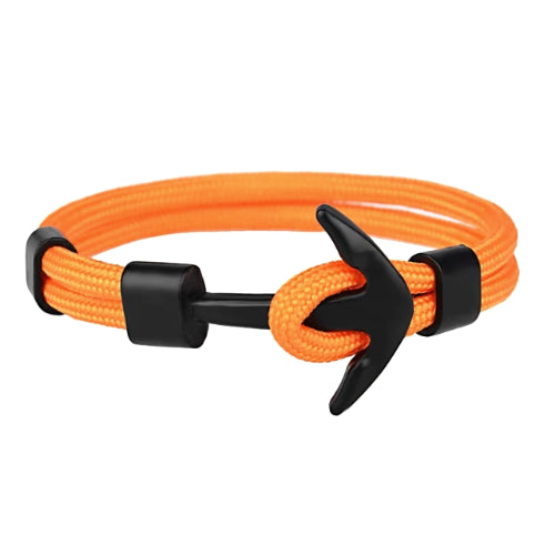 Classy Men Orange Black Anchor Bracelet