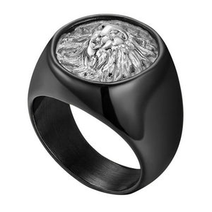 Classy Men Lion Signet Ring Black/Silver - Classy Men Collection