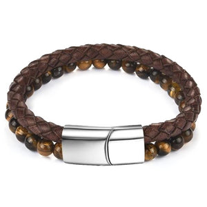 Classy Men Brown Dual Beaded Leather Bracelet - Classy Men Collection