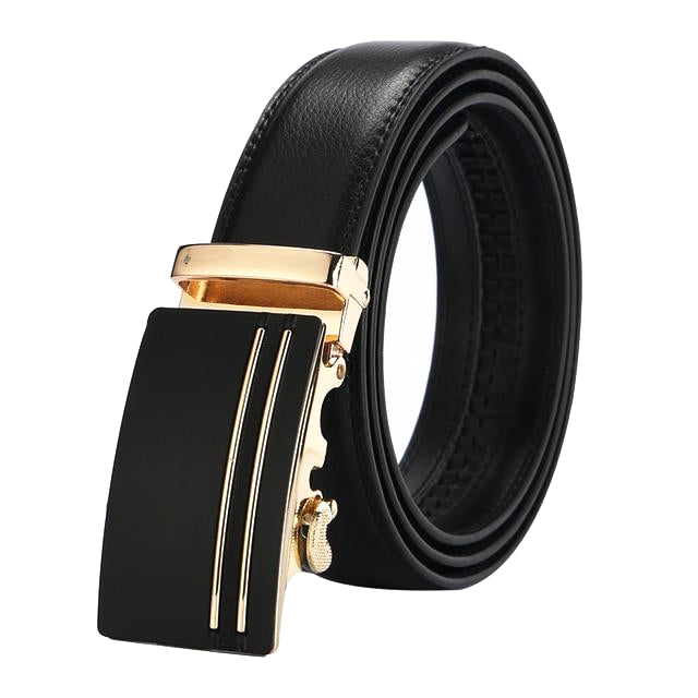 Classy Men Black & Gold Leather Suit Belt - Classy Men Collection