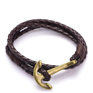 Classy Men Anchor Leather Bracelet - 3 Styles - Classy Men Collection