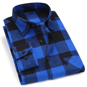 Blue Plaid Shirt - 10 Styles | Regular Fit | Sizes 38-44 - Classy Men Collection