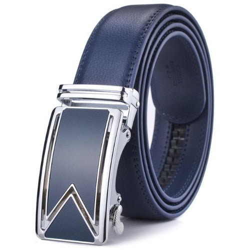 Classy Men Blue Leather Dress Belt - Classy Men Collection