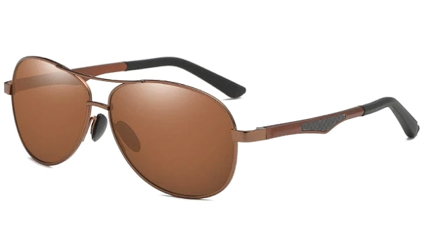 Classy Men Brown Polarized Pilot Sunglasses - Classy Men Collection