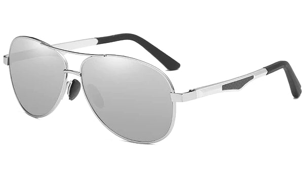 Classy Men Silver Polarized Pilot Sunglasses