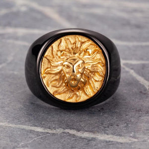 Classy Men Lion Signet Ring Black/Gold - Classy Men Collection