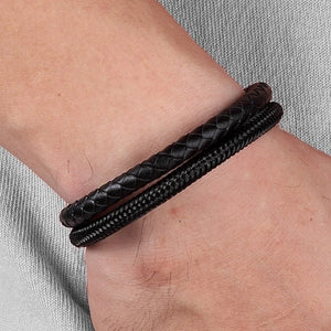 Classy Men Black Stainless Steel Leather Band Bracelet