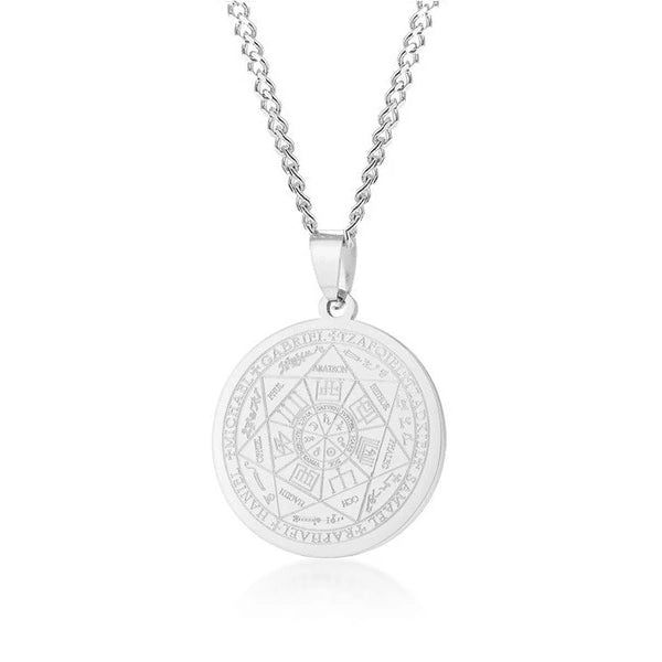 Classy Men Silver Coin Pendant Necklace