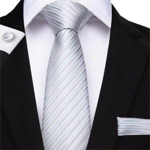 Classy Men Silver White Blue Striped Silk Tie