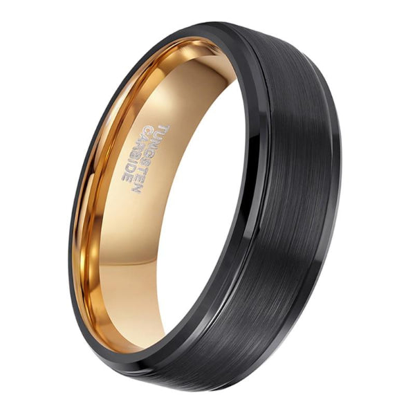 Classy Men Black & Gold Brushed Ring - Classy Men Collection