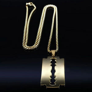 Mens Golden Razor Blade Pendant Necklace