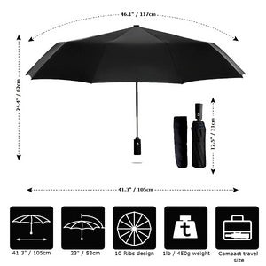 Red & black 2 color umbrella size details chart