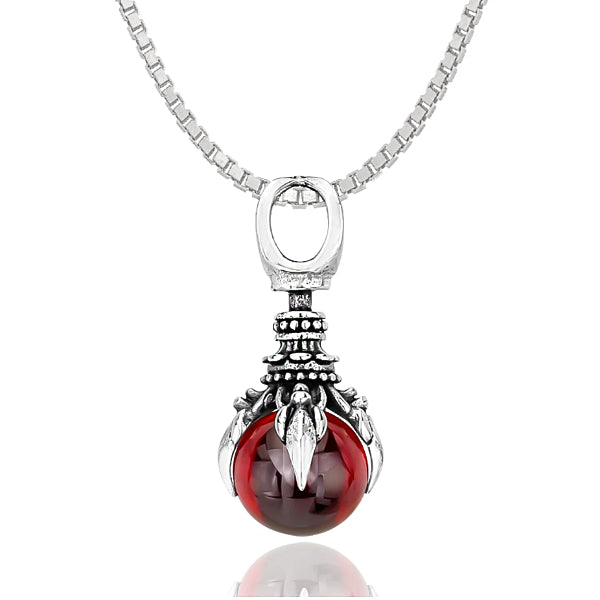 silver-toned oracle pendant holding a red crystal ball of harmony hanging from a box chain