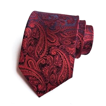 Classy Men Formal Red Paisley Silk Necktie