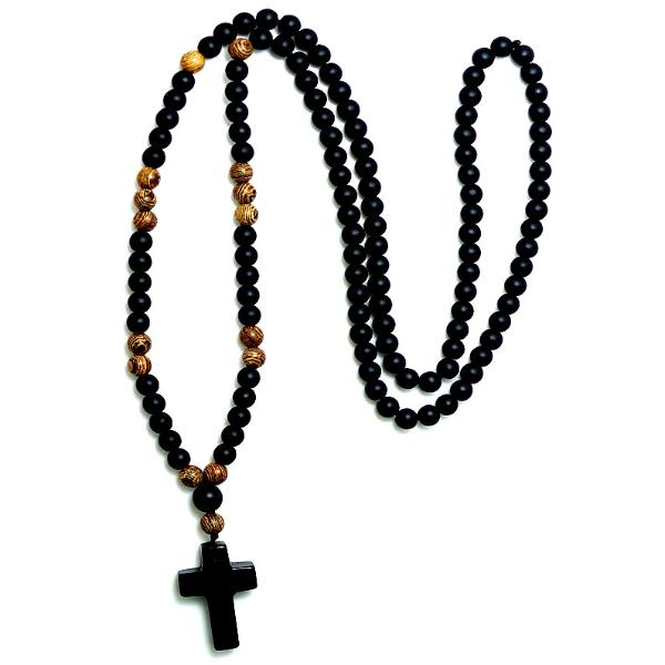 beaded rosary necklace for prayers on a white background