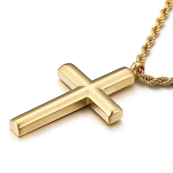 Classy Men Rounded Gold Cross Pendant Necklace