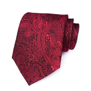 Classy Men Formal Ruby Red Paisley Silk Necktie