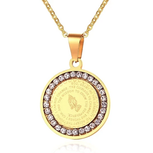 Gold CZ Serenity Prayer Pendant Necklace For Men
