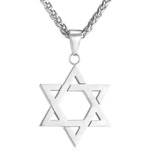 silver Jewish Star of David Pendant hanging on a wheat chain