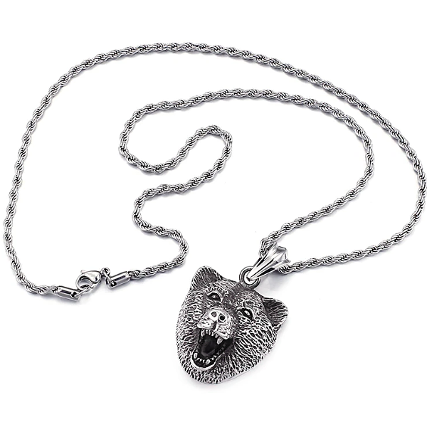 Classy Men Silver Bear Pendant Necklace