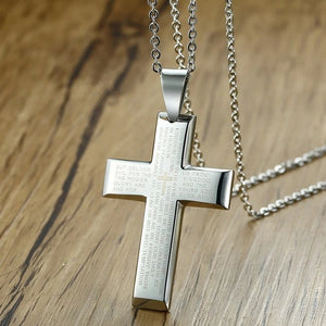Classy Men Silver Bible Verse Cross Pendant Necklace