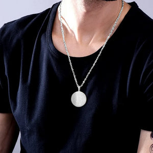 Classy Men Silver Bitcoin Pendant Necklace