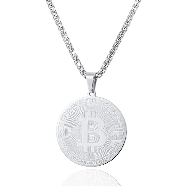 Silver Bitcoin digital currency pendant hanging on a chain necklace
