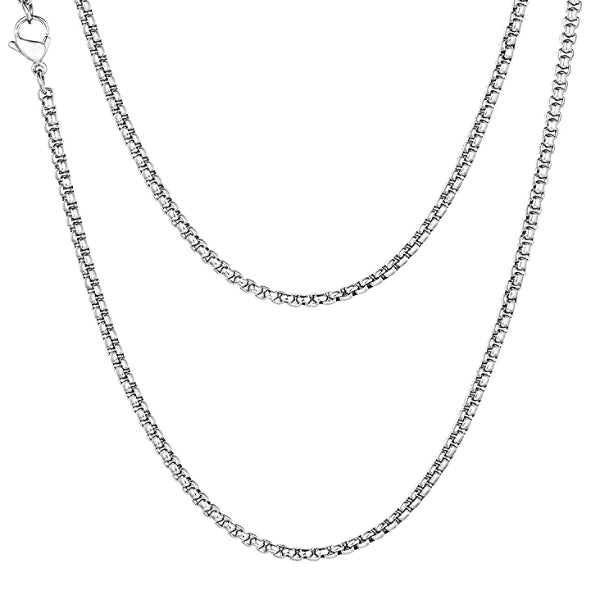 Classy Men 3mm Silver Box Chain Necklace