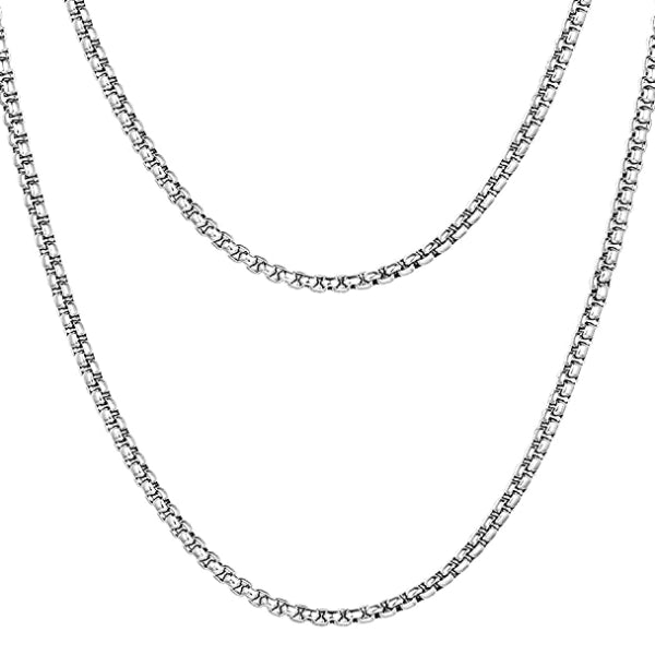 Classy Men 4mm Silver Box Chain Necklace
