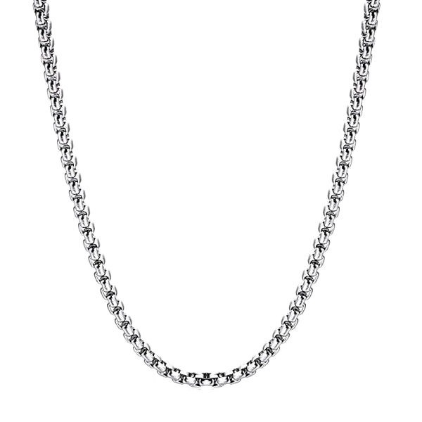 Classy Men 5mm Silver Box Chain Necklace
