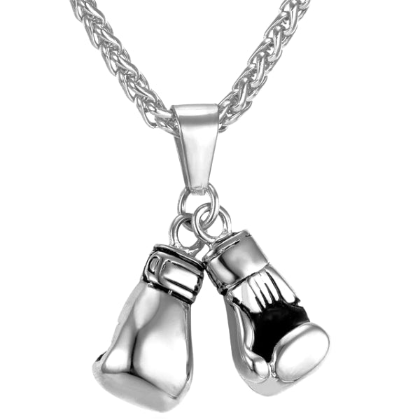 Silver boxing gloves pendant necklace made of stainless steel