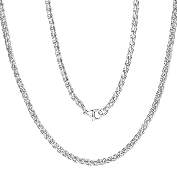 Classy Men 6mm Silver Braided Wheat Chain Necklace