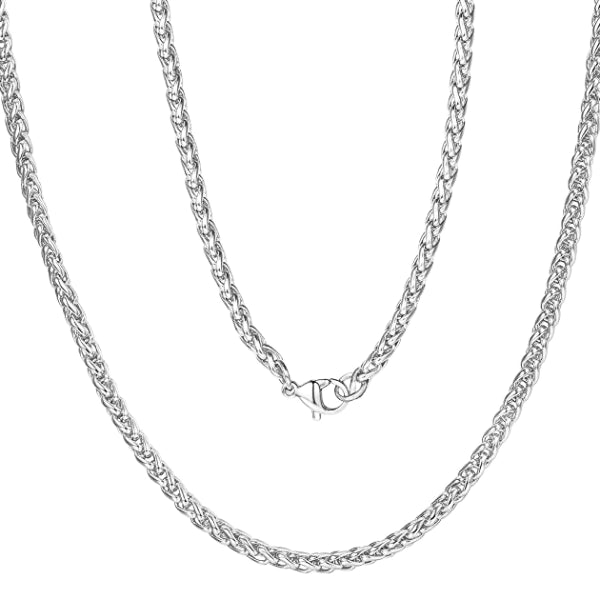 Classy Men 7mm Silver Braided Wheat Chain Necklace
