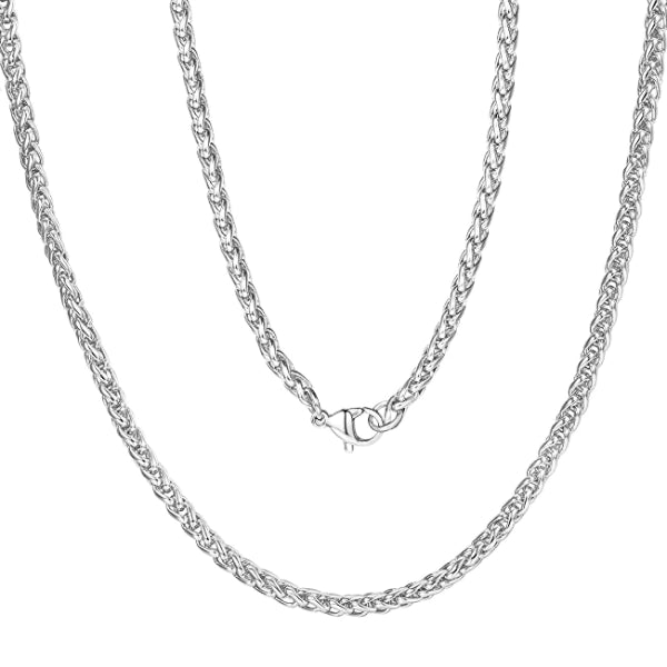 Classy Men 5mm Silver Braided Wheat Chain Necklace