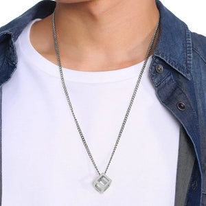 Classy Men Silver Square Cube Pendant Necklace