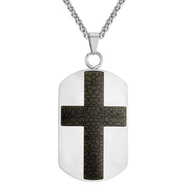 silver dog tag cross necklace pendant - black cross on a silver pendant