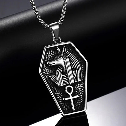 Classy Men Silver Egyptian Anubis Ankh Pendant Necklace
