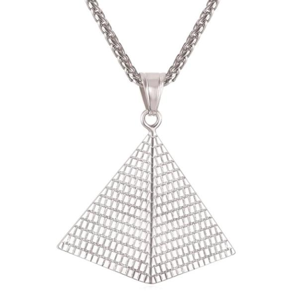 Classy Men Silver Pyramid Pendant Necklace