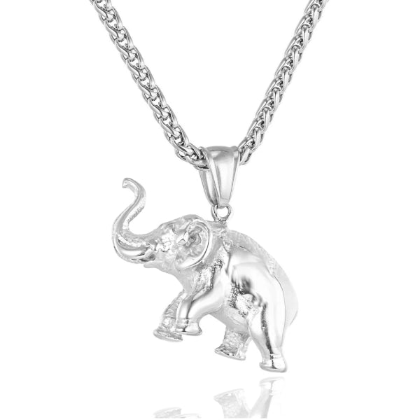silver elephant pendant hanging on a silver chain