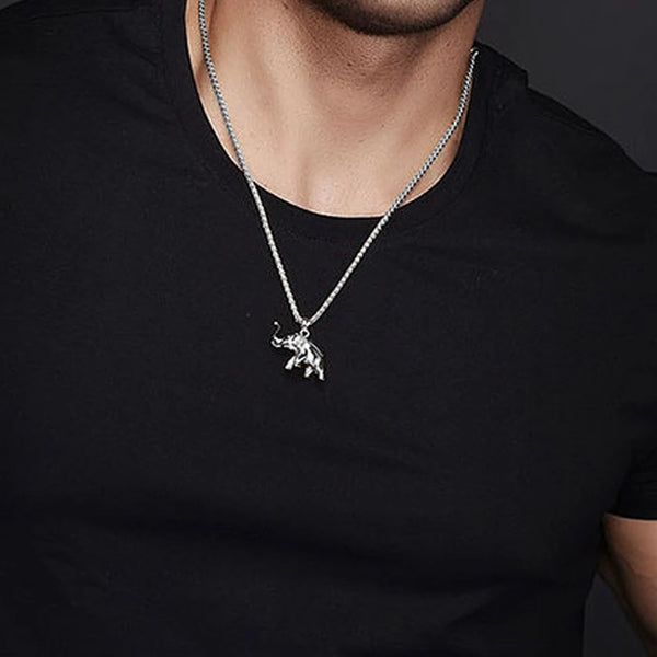 Classy Men Silver Elephant Pendant Necklace