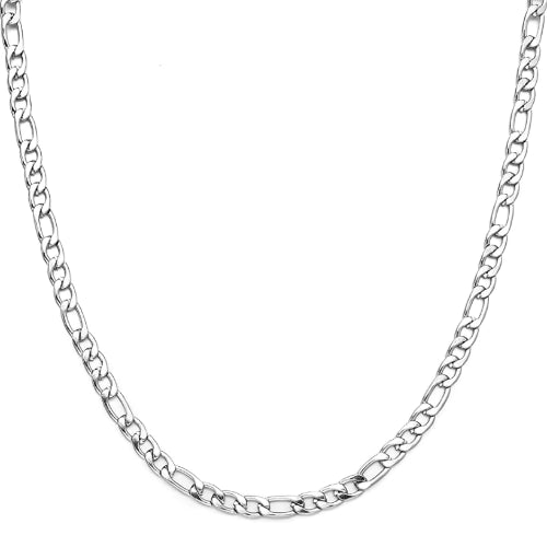 Classy Men 5.5mm Silver Figaro Chain Necklace