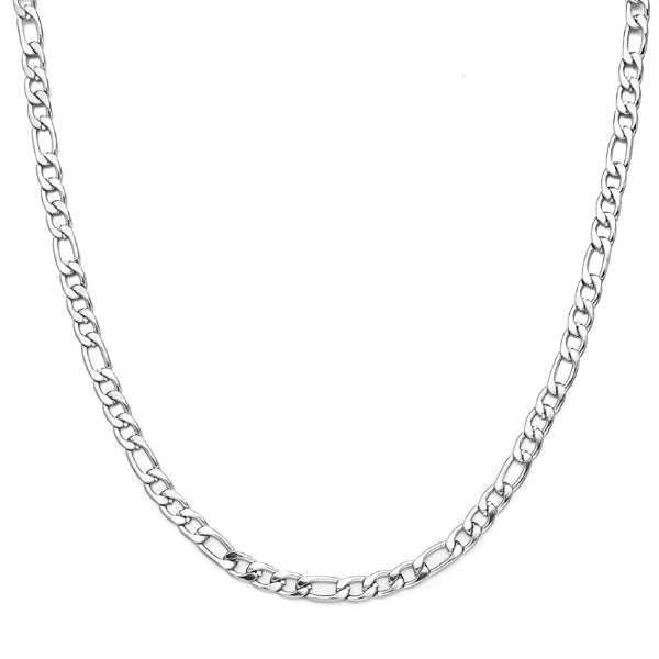Classy Men 4mm Silver Figaro Chain Necklace