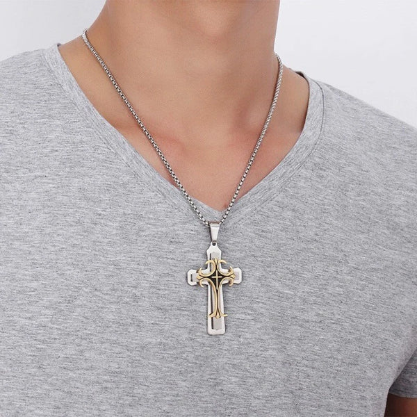 Classy Men Silver Gold Designer Syriac Cross Pendant Necklace