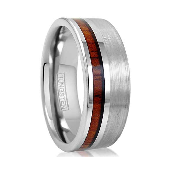 Classy Men Silver Brushed Koa Wood Ring