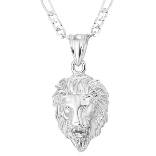 Classy Men Silver King Lion Pendant Necklace