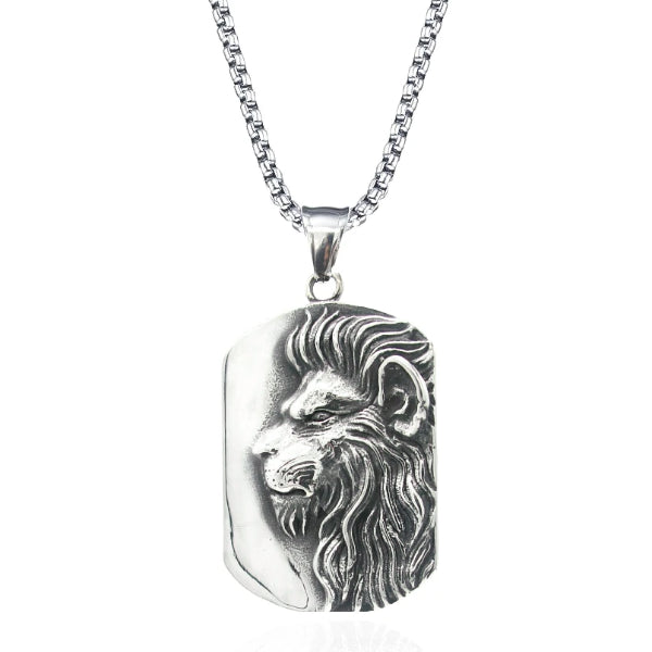 Classy Men Silver Lion Pendant Necklace
