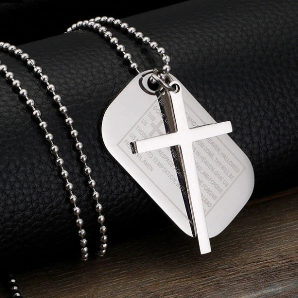 Classy Men Silver Lord's Prayer Cross Pendant Necklace